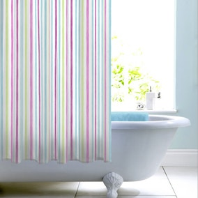 Heavenly Hummingbird Blue Stripe Shower Curtain