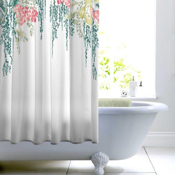 Folla Green Shower Curtain Dunelm, Green And White Shower Curtain