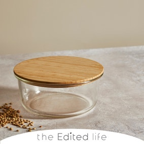 Glass Food Storage with Bamboo Lids Round 1200ml