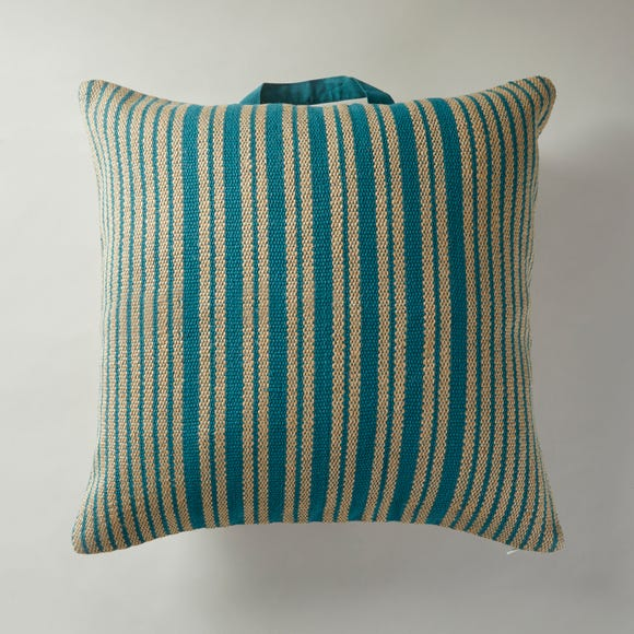 Jute and Cotton Teal Floor Cushion Teal (Blue) undefined