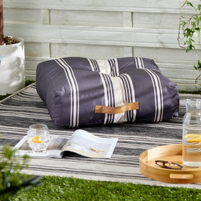 Monochrome Striped Water Resistant Outdoor Floor Cushion