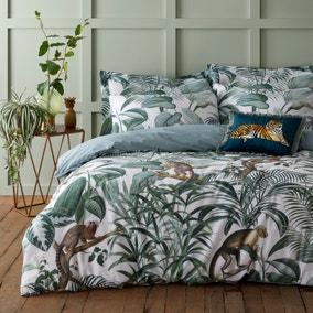 Jungle Green 100% Cotton Reversible Duvet Cover and Pillowcase Set