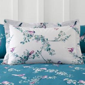 Beautiful Birds Teal Oxford Pillowcase