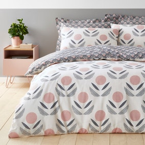 Elements Asa Charcoal and Blush Duvet Cover and Pillowcase Set