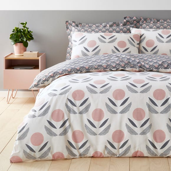 Elements Asa Charcoal and Blush Duvet Cover and Pillowcase Set  undefined