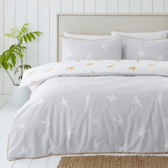 Coastal Birds Grey and Ochre Reversible Duvet Cover and Pillowcase Set  undefined