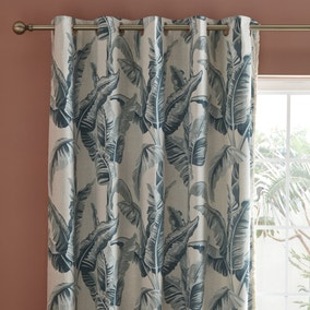 Tropical Palms Green Eyelet Curtains