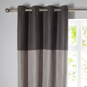 Suede Reversible Grey Eyelet Curtains