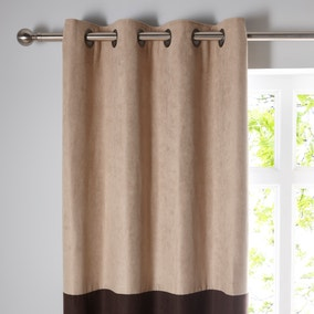 Suede Reversible Chocolate Eyelet Curtains