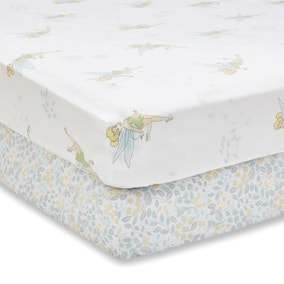 Tinkerbell 100% Cotton Pack of 2 Fitted Sheets