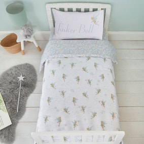 Tinkerbell White Reversible 100% Cotton Cot Bed Duvet Cover and Pillowcase Set