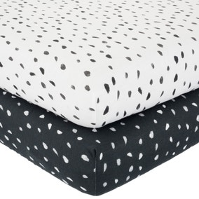 Jersey Monochrome Spotted Pack of 2 100% Cotton Fitted Sheets
