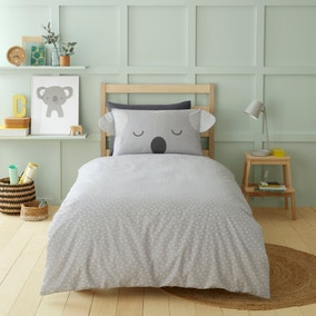 3D Koala Grey 100% Cotton Duvet Cover and Pillowcase Set