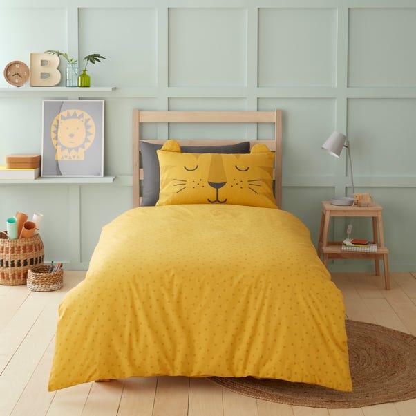 3D Tiger Yellow 100% Cotton Duvet Cover and Pillowcase Set Deep Yellow