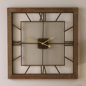 Pacific Lifestyle 80cm Square Metal and Wood Wall Clock