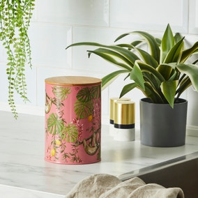 Metal Canister with Bamboo Lid Sloth Tropics