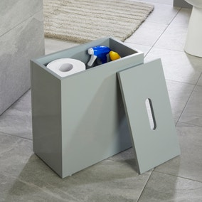 Jasper Grey Gloss Bathroom Tidy with Removable Lid