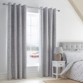 Padstow Blue Blackout Eyelet Curtains