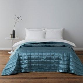 Nancy Duck-Egg Satin Quilted Bedspread