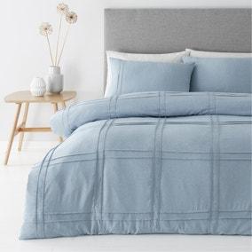 Denver Denim Pintuck Duvet Cover and Pillowcase Set
