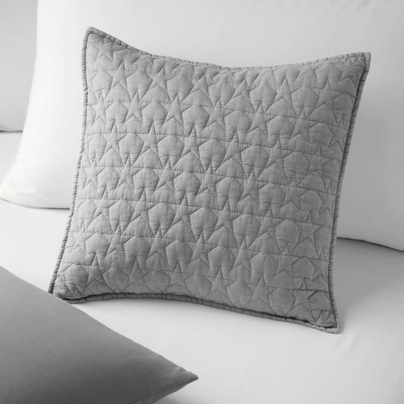 Quilted Star Cushion Light Grey