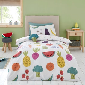 Fruit and Vegetables Reversible 100% Cotton Duvet Cover and Pillowcase Set