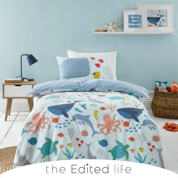 Protect our Seas Blue 100% Organic Cotton Duvet Cover and Pillowcase Set  undefined