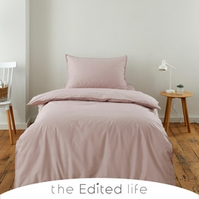 Dusty Pink 100% Organic Cotton Duvet Cover and Pillowcase Set