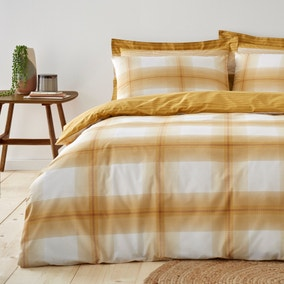 Colby Ochre Reversible Duvet Cover and Pillowcase Set