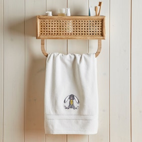 Embroidered Easter Bunny White 100% Cotton Hand Towel