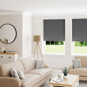 Textured Charcoal and Silver Reversible Blackout Roller Blind