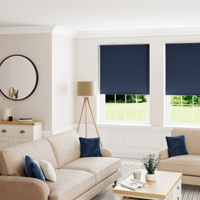Textured Navy and Pebble Reversible Blackout Roller Blind
