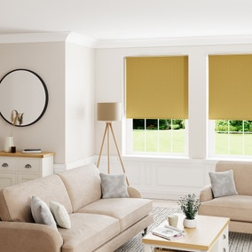 Textured Ochre and Grey Reversible Blackout Roller Blind