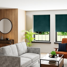 Textured Peacock and Teal Reversible Blackout Roller Blind