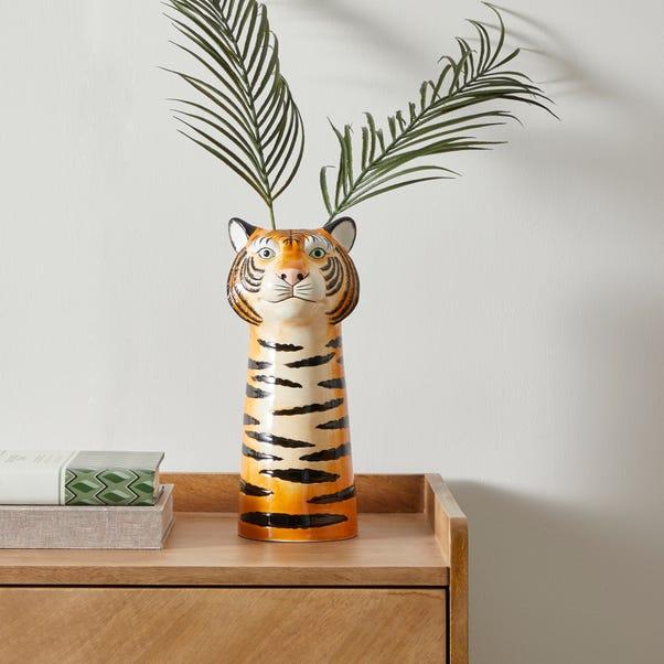 Ceramic Tiger Head Vase 30cm Orange
