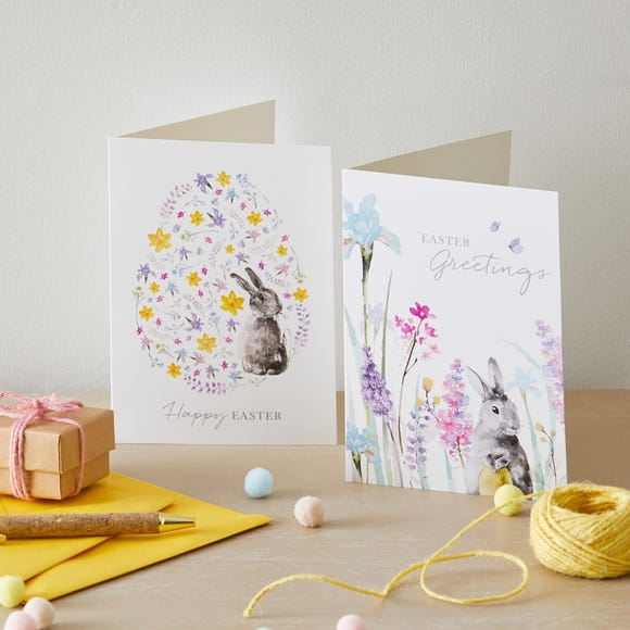 Easter Greetings Cards Pack of 6 MultiColoured