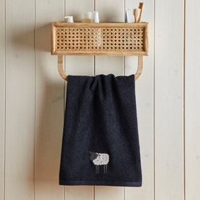 Embroidered Sheep Black 100% Cotton Hand Towel