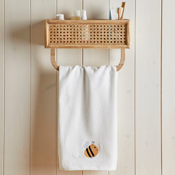 Embroidered Bee White 100% Cotton Hand Towel White