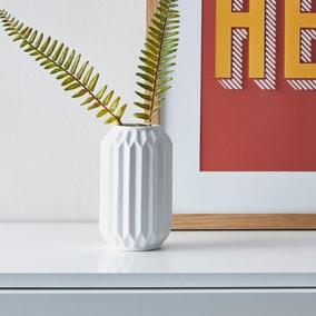 Fluted Vase 14cm White