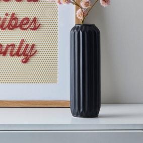 Fluted Vase 25cm Black