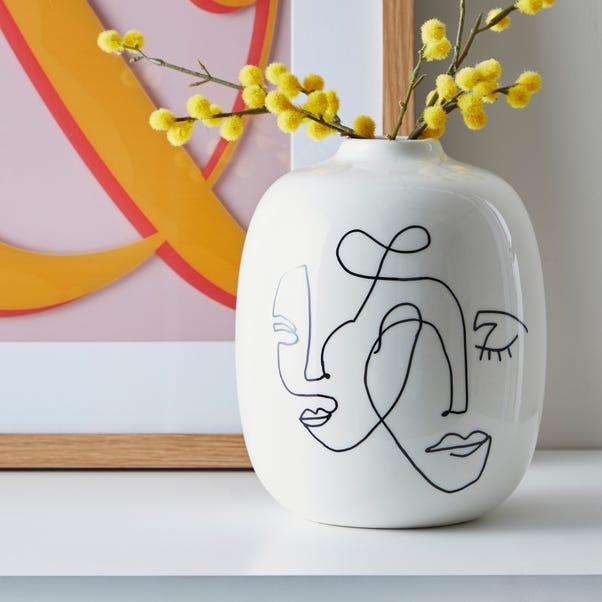 Ceramic Face Vase Black and white