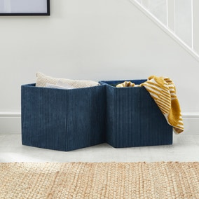 Set of 2 Navy Foldable Cord Storage Boxes