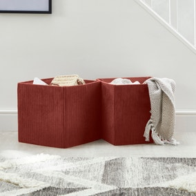 Set of 2 Coral Foldable Cord Storage Boxes