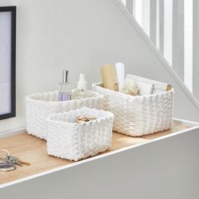 Set of 3 Paper Rope White Storage Baskets