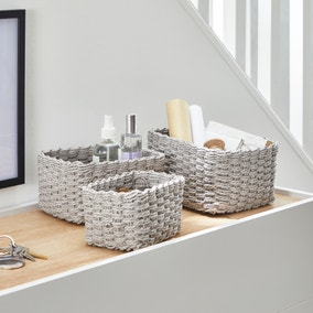 Set of 3 Paper Rope Grey Storage Baskets