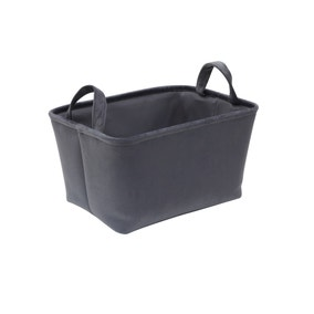 Luxe Grey Velvet Storage Basket