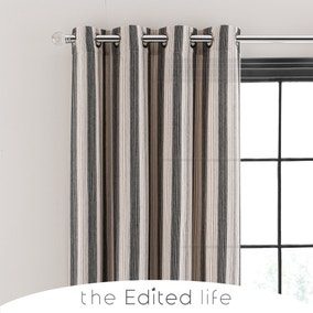 Nordic Stripe Monochrome Unlined Eyelet Curtains