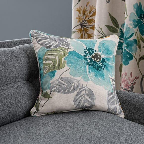 Tulsi Floral Cushion Teal (Blue) undefined