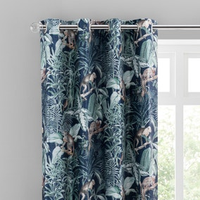 Jungle Luxe Navy Chenille Eyelet Curtains