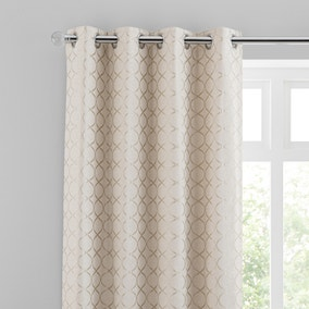 Chenille Ogee Cream Eyelet Curtains